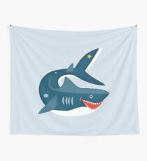 Lachender Hai im Meer   Maritim Wall Tapestry