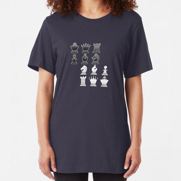 Chess - Black and white blocks Slim Fit T-Shirt
