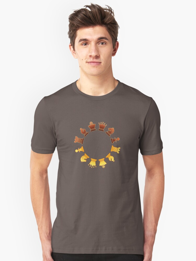 Chess - Brown and yellow circle Unisex T-Shirt Front