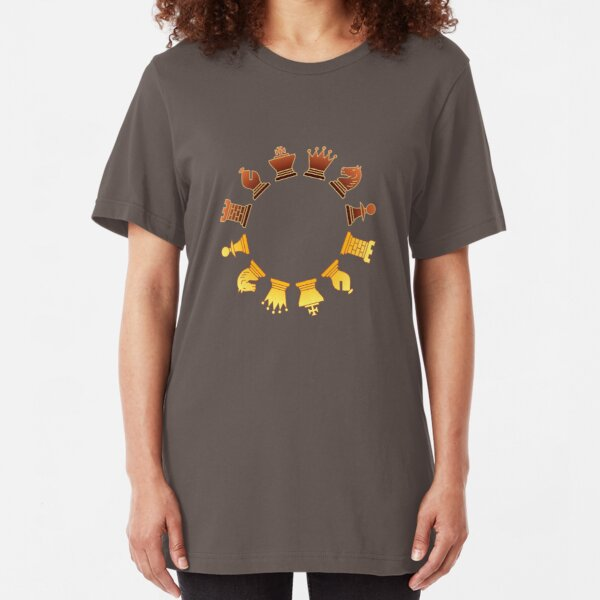 Chess - Brown and yellow circle Slim Fit T-Shirt