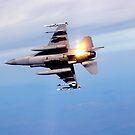 Ein F-16 Fighting Falcon lässt bei Manövern Fackeln fallen. von StocktrekImages