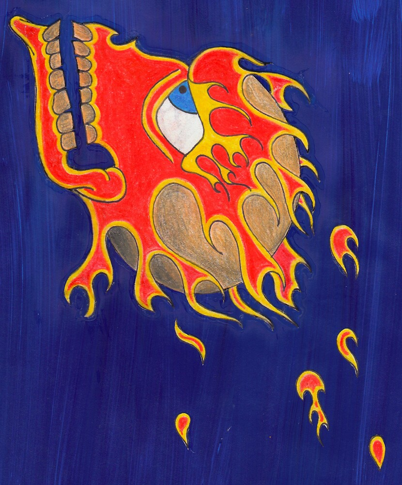 flaming skull on a blue background by godofthemind