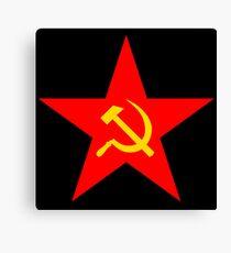 Communism, Hammer & Sickle, Red Star, on BLACK Canvas Print