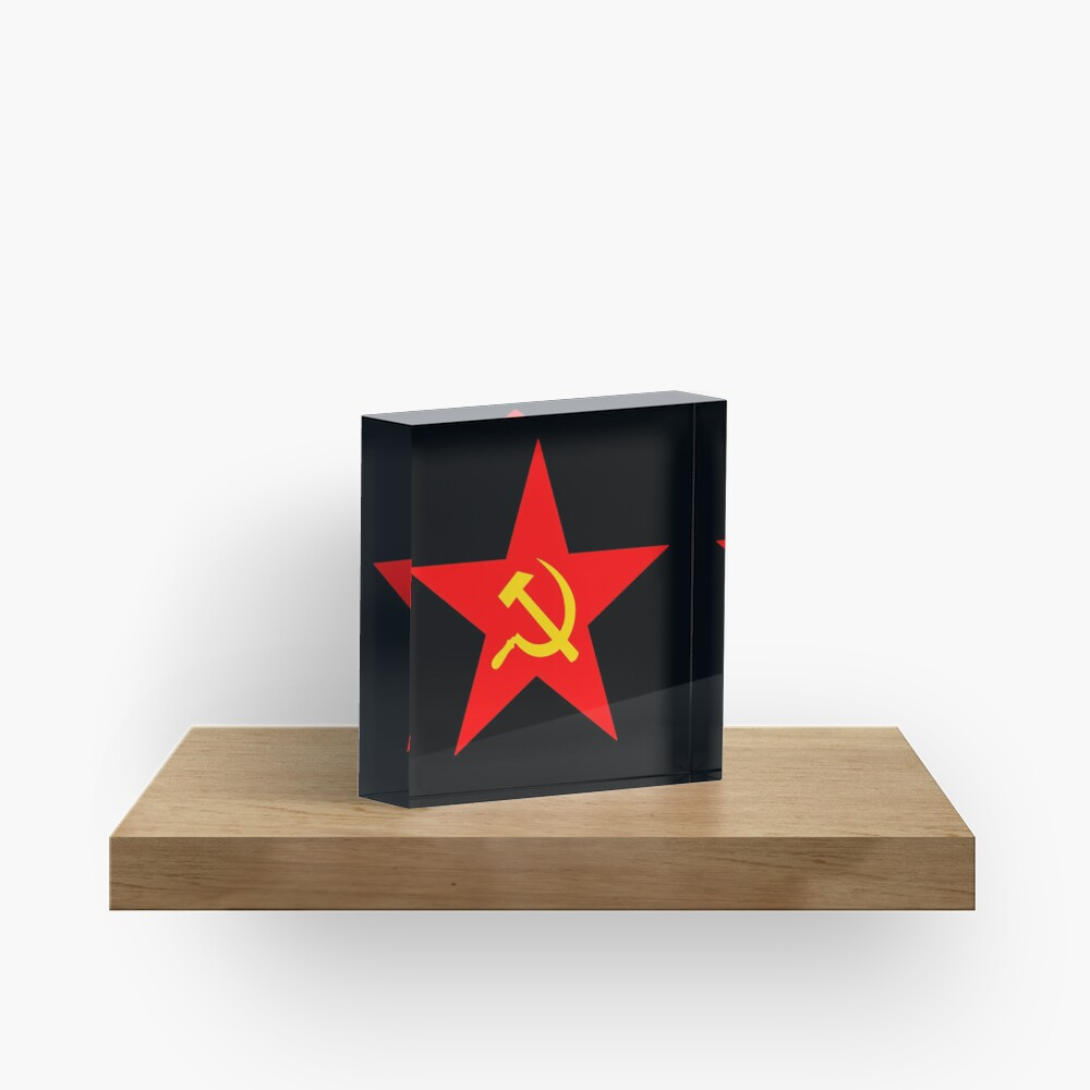 Hammer & Sickle. Red Star. Communist Star. Communism. On BLACK. Acrylic Block