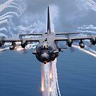 Ein AC-130H-Kampfhubschrauber jagt Flares als Infrarot-Gegenmaßnahme. von StocktrekImages