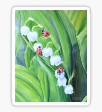 Ladybugs and lily of the valley Sticker