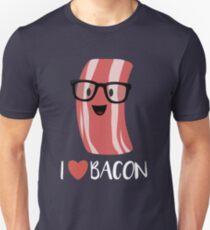 I Love Bacon Cartoon Print Bacon With Geeky Glasses Unisex T-Shirt