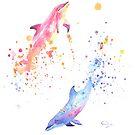 « Dauphins à l'aquarelle » par cindybarillet