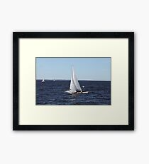 Sailing yacht in motion Framed Print
