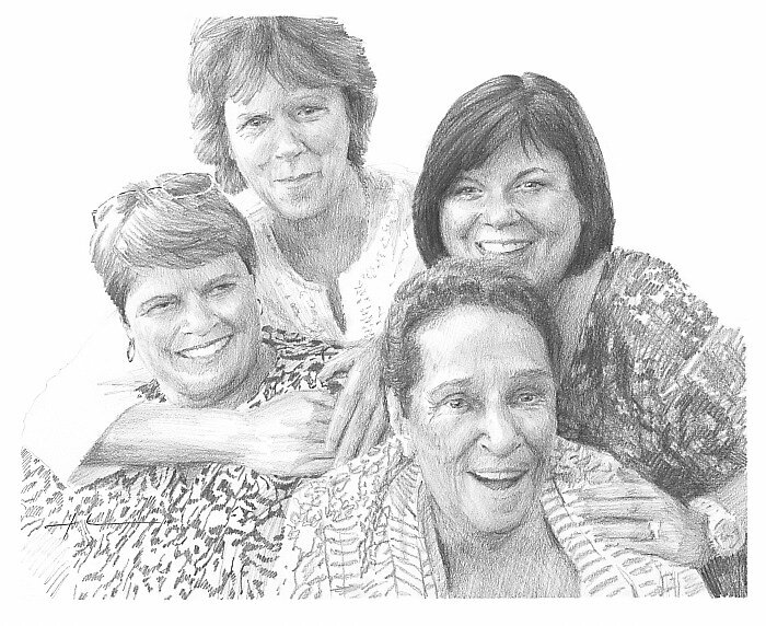 Mom and sisters drawing by Mike Theuer