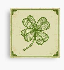 Vintage lucky clover Canvas Print