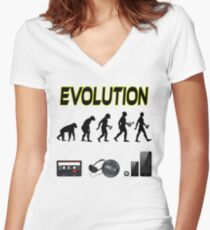 EVOLUTION OF MAN AND MUSIC Women's Fitted V-Neck T-Shirt