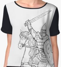 warrior with sword in armor and helmet on horse Chiffon Top