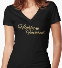 Gold Script Highly Favored Women's Fitted V-Neck T-Shirt