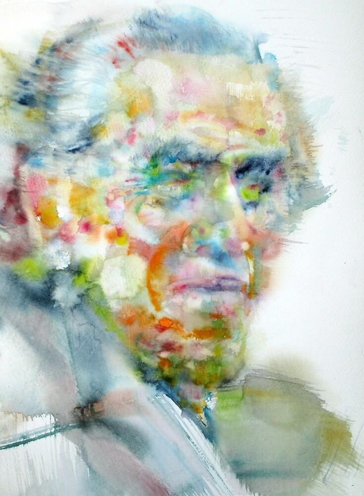CHARLES BUKOWSKI - watercolor portrait by lautir