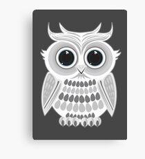 White Owl - Grey Canvas Print