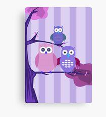 Purple Owls Canvas Print