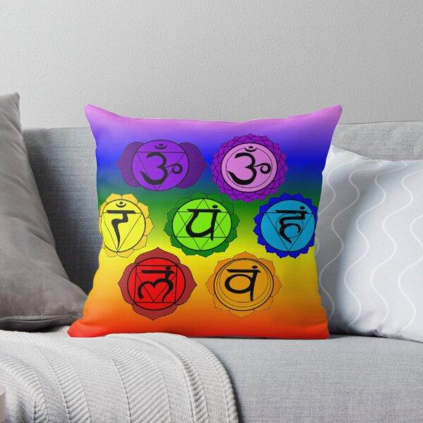 YOGA REIKI PLAIN SEVEN CHAKRA SYMBOLS RAINBOW TEMPLATE Throw Pillow