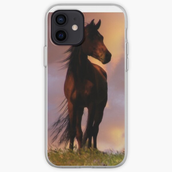 Beautiful Silhouetted Horse in Colorful Sundown iPhone Soft Case
