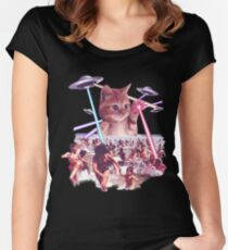 Funny & Cute Cat invader from space Beach Attack UFO & lasers Galaxy Universe Women's Fitted Scoop T-Shirt