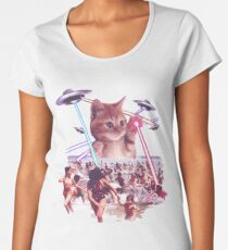 Funny & Cute Cat invader from space Beach Attack UFO & lasers Galaxy Universe Women's Premium T-Shirt