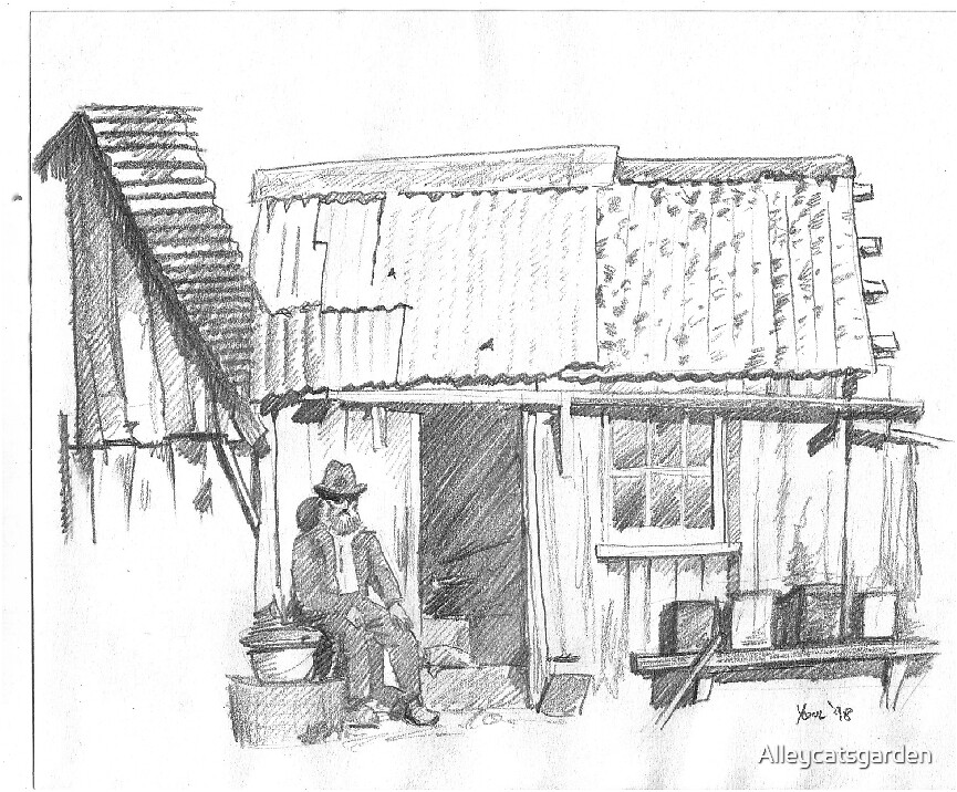 shanty and old fella by Alleycatsgarden