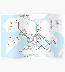 Hong Kong city subway metro map Poster