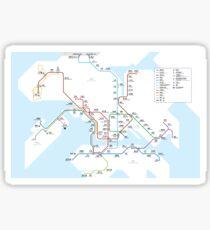 Hong Kong city subway metro map Sticker