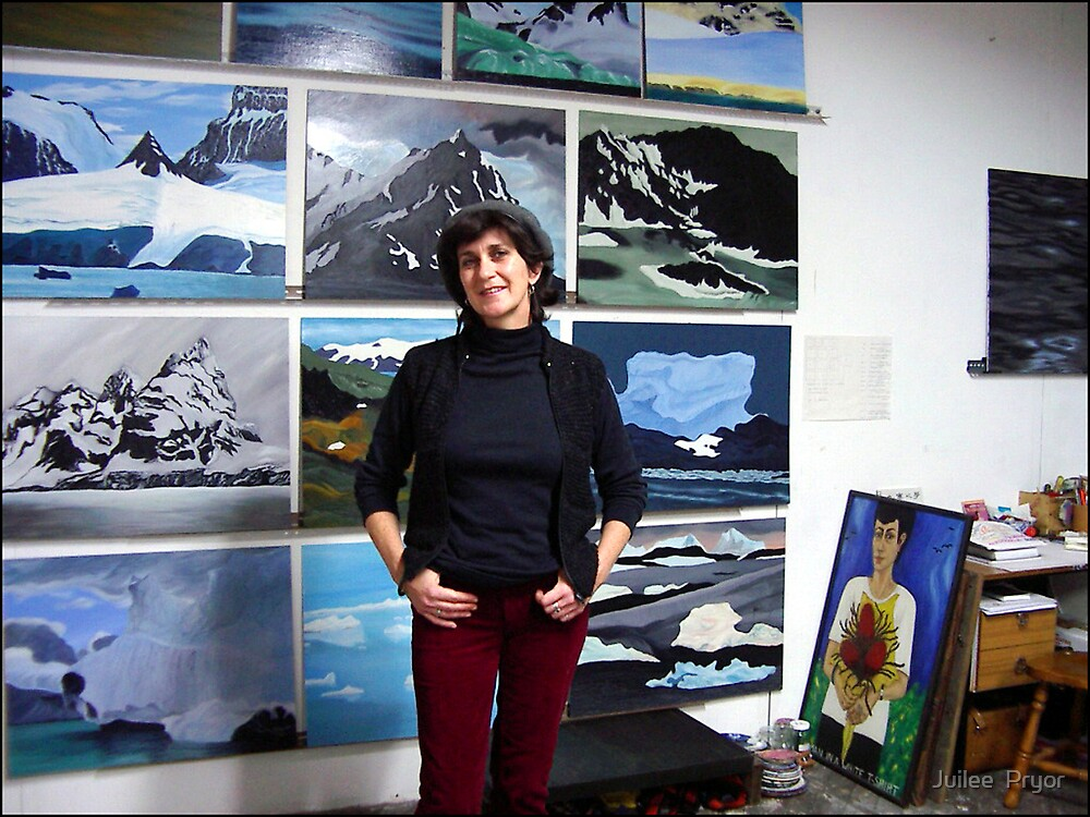 Towards Neverland..... Moi and a wall of chilly paintings....2003 by Juilee  Pryor