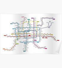 Beijing city subway metro map Poster