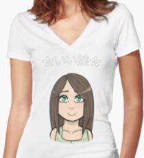 Good Girl | Anime / Chibi | Japanese Women's Fitted V-Neck T-Shirt