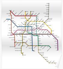 mexico city subway metro map Poster