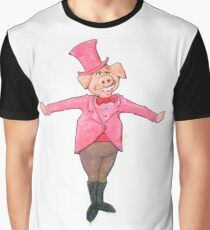 A Pig who is wearing a Top Hat Graphic T-Shirt