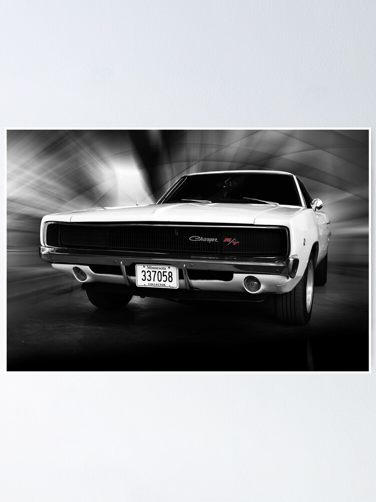 """1968 Dodge Charger Hot Rod Muscle Car Mini Poster 24/"""" x 16/"""""""