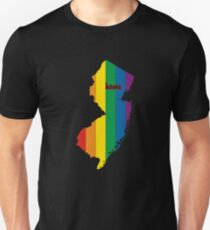 New Jersey Map Rainbow Pride Gifts T-Shirt