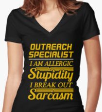 OUTREACH SPECIALIST Women's Fitted V-Neck T-Shirt