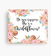 Blush pink and gold wildflower Metal Print