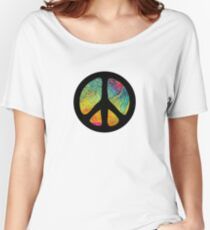 Peace Out in Blue Women's Relaxed Fit T-Shirt