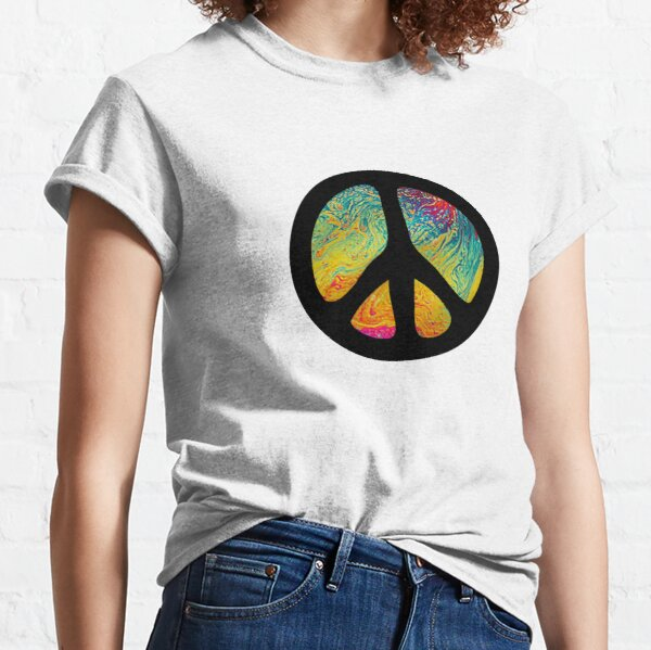 Peace Out in Blue Classic T-Shirt