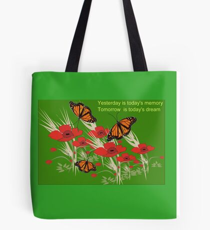 Poppies and butterflies (2982 Views) Tote Bag
