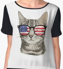 USA America Cat Kitten Flag Patriotic Hipster Sunglasses  Chiffon Top