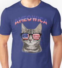 Ameowica USA Cat Kitten Patriotic Hipster Sunglasses Funny Design Unisex T-Shirt