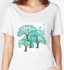 Three decorative trees with birds Women's Relaxed Fit T-Shirt