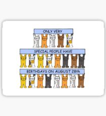 August 28th Birthday Cats Sticker