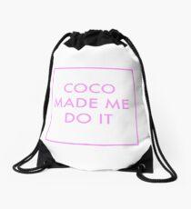 Coco Made Me Do It Pink Drawstring Bag
