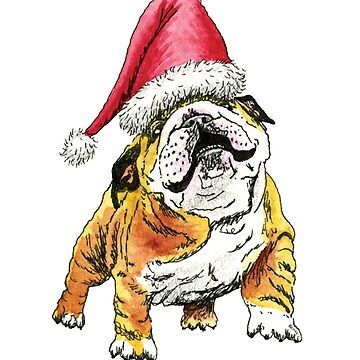Christmas Bulldog by ElfRenee