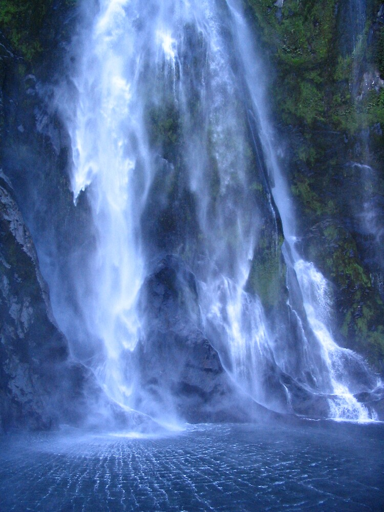 Waterfall at Milford Sound South Island NZ by Phil Barr