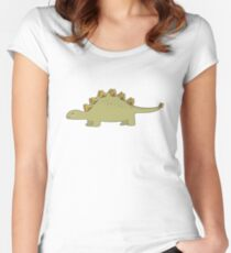 CUTE STEGOSAURUS (STEGOSAUR) DINOSAUR ILLUSTRATION Women's Fitted Scoop T-Shirt