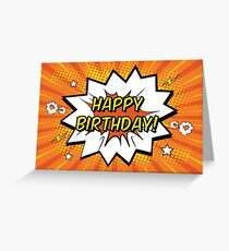 happy birthday comic book style Greeting Card