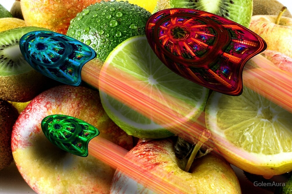 Burger Joint Flying over Fruit by GolemAura